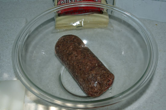 Sausage meat in the bowl